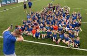 5 July 2017; Jamie Heaslip and Jamison Gibson-Park of Leinster Rugby came out to the Bank of Ireland Summer Camp to meet up with some local young rugby talent in Terenure College RFC. Pictured is Leinster's Jamie Heaslip with the attendees, Dublin. Terenure College RFC, Terenure, Dublin. Photo by Seb Daly/Sportsfile