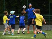 5 July 2017; Jamie Heaslip and Jamison Gibson-Park of Leinster Rugby came out to the Bank of Ireland Summer Camp to meet up with some local young rugby talent in Terenure College RFC. Pictured is Leinster's Jamison Gibson-Park during a coaching exercise with the players. Terenure College RFC, Terenure, Dublin. Photo by Seb Daly/Sportsfile