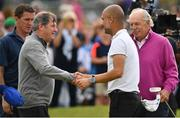 5 July 2017; Manchester City manager Pep Guardiola with businessmen JP McManus and Dermot Desmond, right, during the Pro-Am ahead of the Dubai Duty Free Irish Open Golf Championship at Portstewart Golf Club in Portstewart, Co. Derry. Photo by Brendan Moran/Sportsfile