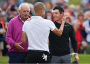 5 July 2017; Manchester City manager Pep Guardiola with Rory McIlroy of Northern Ireland businessman Dermot Desmond, left, during the Pro-Am ahead of the Dubai Duty Free Irish Open Golf Championship at Portstewart Golf Club in Portstewart, Co. Derry. Photo by Brendan Moran/Sportsfile