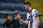 5 July 2017; Ciaran Kilduff of Dundalk, right, high fives a young fan following the SSE Airtricity League Premier Division match between Bohemians and Dundalk at Dalymount Park in Dublin. Photo by Sam Barnes/Sportsfile