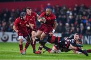 3 November 2017; Simon Zebo of Munster is tackled by Adam Warren of Dragons during the Guinness PRO14 Round 8 match between Munster and Dragons at Irish Independent Park in Cork. Photo by Matt Browne/Sportsfile