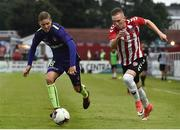 6 July 2017; Ronan Curtis of Derry City in action against Andre Remer of Midtjylland during the Europa League First Qualifying Round Second Leg match between Derry City and Midtjylland at The Showgrounds in Sligo. Photo by David Maher/Sportsfile