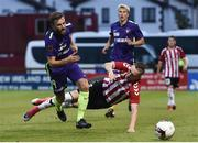 6 July 2017; Ronan Curtis of Derry City in action against Janus Drahmann of Midtjylland during the Europa League First Qualifying Round Second Leg match between Derry City and Midtjylland at The Showgrounds in Sligo. Photo by David Maher/Sportsfile