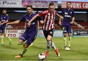 6 July 2017; Ronan Cuertis of Derry City in action against  Kian Hansen of Midtjylland during the Europa League First Qualifying Round Second Leg match between Derry City and Midtjylland at The Showgrounds in Sligo. Photo by David Maher/Sportsfile