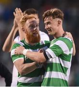 6 July 2017; Ronan Finn, right, and Ryan Connolly of Shamrock Rovers celebrate after the Europa League First Qualifying Round Second Leg match between Shamrock Rovers and Stjarnan at Tallaght Stadium in Tallaght, Co Dublin. Photo by Cody Glenn/Sportsfile