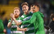 6 July 2017; Ronan Finn, left, and Graham Burke of Shamrock Rovers after the Europa League First Qualifying Round Second Leg match between Shamrock Rovers and Stjarnan at Tallaght Stadium in Tallaght, Co Dublin. Photo by Cody Glenn/Sportsfile