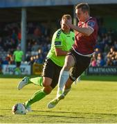 7 July 2017;  Padraic Cunningham of Galway United in action against Robbie Williams of Limerick during the SSE Airtricity League Premier Division match between Galway United and Limerick at Eamonn Deacy Park in Galway. Photo by David Maher/Sportsfile