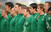 25 February 2012; Ireland players, from left, Keith Earls, Donncha O'Callaghan, Rory Best, Tommy Bowe, Mike Ross, Gordon D'Arcy, Conor Murray, Andrew Trimble and Stephen Ferris stand for the national anthems before the game. RBS Six Nations Rugby Championship, Ireland v Italy, Aviva Stadium, Lansdowne Road, Dublin. Picture credit: Brendan Moran / SPORTSFILE