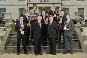 6 March 2012; At the AIB Provincial Player Awards 2011 are, back row, from left, Leinster hurling winner Cathal Parlon, Coolderry, Co. Offaly and Ulster hurling winner Joey Scullion, Loughgiel Shamrocks, Co. Antrim, middle row, from left, Leinster football winner Dessie Dolan, Garrycastle, Co. Westmeath, Munster hurling winner Shane Dowling, Na Piarsaigh, Co. Limerick, and Ulster football winner Jamie Clarke, Crossmaglen Rangers, Co. Armagh, front row, from left, Connacht football winner Frankie Dolan, St. Brigid's, Co. Roscommon, Uachtarán CLG Criostóir Ó Cuana, Billy Finn, General Manager, AIB Bank, and Munster football winner Colm Cooper, Dr. Crokes, Co. Kerry. Radisson Blu St. Helen's Hotel, Stillorgan. Picture credit: David Maher / SPORTSFILE