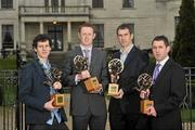 6 March 2012; At the AIB Provincial Player Awards 2011 are, from left, Ulster football winner Jamie Clarke, Crossmaglen Rangers, Co. Armagh, Munster football winner Colm Cooper, Dr. Crokes, Co. Kerry, Leinster football winner Dessie Dolan, Garrycastle, Co. Westmeath, and Connacht football winner Frankie Dolan, St. Brigid's, Co. Roscommon. Radisson Blu St. Helen's Hotel, Stillorgan. Picture credit: David Maher / SPORTSFILE