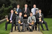 6 March 2012; At the AIB Provincial Player Awards 2011 are, back row, from left, Ulster football winner Jamie Clarke, Crossmaglen Rangers, Co. Armagh, Ulster hurling winner Joey Scullion, Loughgiel Shamrocks, Co. Antrim, and Munster hurling winner Shane Dowling, Na Piarsaigh, Co. Limerick, front row, from left, Frankie Dolan, St. Brigid's, Co. Roscommon, Munster football winner Colm Cooper, Dr. Crokes, Co. Kerry, Leinster hurling winner Cathal Parlon, Coolderry, Co. Offaly, and Leinster football winner Dessie Dolan, Garrycastle, Co. Westmeath. Radisson Blu St. Helen's Hotel, Stillorgan. Picture credit: David Maher / SPORTSFILE