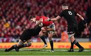 8 July 2017; Jonathan Sexton of the British & Irish Lions in action against Sam Cane, left, and Kieran Read of New Zealand during the Third Test match between New Zealand All Blacks and the British & Irish Lions at Eden Park in Auckland, New Zealand. Photo by Stephen McCarthy/Sportsfile