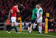 8 July 2017; Jonathan Sexton of the British & Irish Lions leaves the field for a HIA during the Third Test match between New Zealand All Blacks and the British & Irish Lions at Eden Park in Auckland, New Zealand. Photo by Stephen McCarthy/Sportsfile
