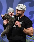 8 July 2017; Kieran Read of New Zealand with his son Reuben James following the Third Test match between New Zealand All Blacks and the British & Irish Lions at Eden Park in Auckland, New Zealand. Photo by Stephen McCarthy/Sportsfile