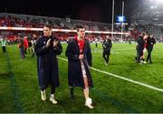 8 July 2017; Liam Williams and Jonathan Sexton of the British & Irish Lions following the Third Test match between New Zealand All Blacks and the British & Irish Lions at Eden Park in Auckland, New Zealand. Photo by Stephen McCarthy/Sportsfile