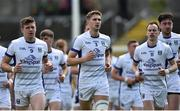 8 July 2017; Cavan captain Killian Clarke leads his team-mates back to their dressing room after the game was delayed by 10 minutes before the GAA Football All-Ireland Senior Championship Round 2B match between Cavan and Tipperary at Kingspan Breffni Park in Cavan. Photo by David Maher/Sportsfile