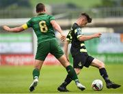 8 July 2017; Aaron Bolger of Shamrock Rovers in action against Scott Brown of Celtic during the friendly match between Shamrock Rovers and Glasgow Celtic at Tallaght Stadium in Dublin.  Photo by David Fitzgerald/Sportsfile
