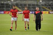 8 July 2017; Mayo manager Stephen Rochford along with Ger Cafferkey, left, and Chris Barrett ahead of the GAA Football All-Ireland Senior Championship Round 3A match between Clare and Mayo at Cusack Park in Ennis, Co Clare. Photo by Diarmuid Greene/Sportsfile