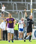 8 July 2017; Ciaran Lyng of Wexford is shown a red card by referee Conor Lane during the GAA Football All-Ireland Senior Championship Round 2B match between Wexford and Monaghan at Innovate Wexford Park in Co Wexford. Photo by Eóin Noonan/Sportsfile