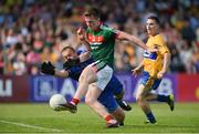 8 July 2017; Cillian O'Connor of Mayo shoots to score his side's first goal past Clare goalkeeper Joe Hayes during the GAA Football All-Ireland Senior Championship Round 3A match between Clare and Mayo at Cusack Park in Ennis, Co Clare. Photo by Diarmuid Greene/Sportsfile