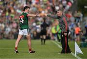 8 July 2017; Cillian O'Connor of Mayo in conversation with Mayo manager Stephen Rochford during the GAA Football All-Ireland Senior Championship Round 3A match between Clare and Mayo at Cusack Park in Ennis, Co Clare. Photo by Diarmuid Greene/Sportsfile
