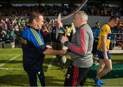 8 July 2017; Clare manager Colm Collins and Mayo manager Stephen Rochford exchange a handshake after the GAA Football All-Ireland Senior Championship Round 3A match between Clare and Mayo at Cusack Park in Ennis, Co Clare. Photo by Diarmuid Greene/Sportsfile
