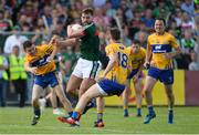 8 July 2017; Aidan O'Shea of Mayo in action against Martin McMahon, left, Eoghan Collins, centre, and David Tubridy of Clare during the GAA Football All-Ireland Senior Championship Round 3A match between Clare and Mayo at Cusack Park in Ennis, Co Clare. Photo by Diarmuid Greene/Sportsfile