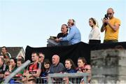 8 July 2017; Members of the RTE GAA panel, John Maughan, left, Pat Spillane, and Evanne Ni Chuilinn during the GAA Football All-Ireland Senior Championship Round 3A match between Clare and Mayo at Cusack Park in Ennis, Co Clare. Photo by Diarmuid Greene/Sportsfile