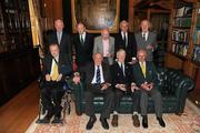 9 March 2012; Members of the 1948 Olympic Team, back row from left, Pat Hickey, President of the OCI, Paddy Kavanagh, swimming, Brendan O'Kelly, football, Morgan McElligott, rowing, and Harry Boland, basketball. Front row, from left, Jimmy Reardon, athletics, Paddy Condon, swimming manager, Robin Tamplin, rowing, and Denis Sugure, rowing, during a reception for the surviving members of the 1948 London Olympics team. Benjamin Iveagh Library, Farmleigh House, Phoenix Park, Dublin. Picture credit: Pat Murphy / SPORTSFILE