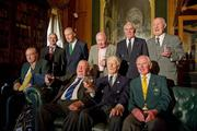 9 March 2012; Members of the 1948 Olympic Team, back row from left, Dermot Sherlock, Honorary Secretary of the OCI, Paddy Kavanagh, swimming, Brendan O'Kelly, football, Morgan McElligott, rowing, and Harry Boland, basketball. Front row, from left, Jimmy Reardon, athletics, Paddy Condon, swimming manager, Robin Tamplin, rowing, and Denis Sugure, rowing, during a reception for the surviving members of the 1948 London Olympics team. Benjamin Iveagh Library, Farmleigh House, Phoenix Park, Dublin. Picture credit: Ray McManus / SPORTSFILE