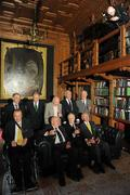 9 March 2012; Members of the 1948 Olympic Team, back row from left, Dermot Sherlock, Honorary Secretary of the OCI, Paddy Kavanagh, swimming, Brendan O'Kelly, football, Morgan McElligott, rowing, and Harry Boland, basketball. Front row, from left, Jimmy Reardon, athletics, Paddy Condon, swimming manager, Robin Tamplin, rowing, and Denis Sugure, rowing, during a reception for the surviving members of the 1948 London Olympics team. Benjamin Iveagh Library, Farmleigh House, Phoenix Park, Dublin. Picture credit: Pat Murphy / SPORTSFILE