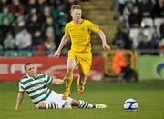 9 March 2012; Keith Quinn, Monaghan United, in action against Gary O'Neill, Shamrock Rovers. Airtricity League Premier Division, Shamrock Rovers v Monaghan United, Tallaght Stadium, Tallaght, Dublin. Picture credit: David Maher / SPORTSFILE