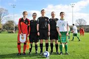 8 March 2012; Belgium captain Nathan Leyder and Republic of Ireland captain Dan Tobin with referee Simon Dragichi, centre, and assistant referees Owen Moynihan and Brian Moynihan before the game. U15 International Friendly, Republic of Ireland v Belgium, Celtic Park, Killarney, Co. Kerry. Picture credit: Diarmuid Greene / SPORTSFILE