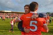 8 July 2017; Armagh manager Kieran McGeeney with Aidan Forker after the GAA Football All-Ireland Senior Championship Round 2B match between Westmeath and Armagh at TEG Cusack Park in Mullingar, Co Westmeath. Photo by Piaras Ó Mídheach/Sportsfile