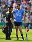 8 July 2017; Ryan O'Dwyer of Dublin speaks to Kilkenny hurling kit man Denis 'Rackard' Cody after the GAA Hurling All-Ireland Senior Championship Round 2 match between Dublin and Tipperary at Semple Stadium in Thurles, Co Tipperary. Photo by Brendan Moran/Sportsfile