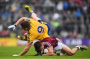 9 July 2017; Eoghan Kerin of Galway is tackled by Fintan Cregg of Roscommon during the Connacht GAA Football Senior Championship Final match between Galway and Roscommon at Pearse Stadium in Galway. Photo by Ramsey Cardy/Sportsfile