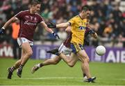 9 July 2017; Brian Stack of  scores his side's Roscommon scores his side's second goal from Gary O'Donnell and Eoghan Kerin of Galway during the Connacht GAA Football Senior Championship Final match between Galway and Roscommon at Pearse Stadium in Salthill, Galway. Photo by David Maher/Sportsfile