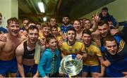 9 July 2017; Captain of Roscommon Diarmuid Murtagh celebrates with his teammates in the team dressing room at the end of the Connacht GAA Football Senior Championship Final match between Galway and Roscommon at Pearse Stadium in Salthill, Galway. Photo by David Maher/Sportsfile