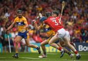 9 July 2017; Shane O'Donnell of Clare is tackled by Damian Cahalane and Mark Coleman of Cork resulting in a penalty for Clare during the Munster GAA Hurling Senior Championship Final match between Clare and Cork at Semple Stadium in Thurles, Co Tipperary. Photo by Brendan Moran/Sportsfile
