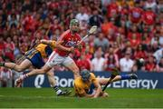 9 July 2017; Alan Cadogan of Cork beats Clare defenders David McInerney, 3, and Seadna Morey to score a goal in the 12th minute during the Munster GAA Hurling Senior Championship Final match between Clare and Cork at Semple Stadium in Thurles, Co Tipperary. Photo by Ray McManus/Sportsfile