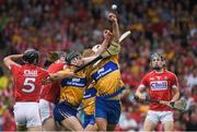 9 July 2017; Clare players John Conlon and Aron Shanagher contest a dropping ball with Cork players, from left, Christopher Joyce, Damian Cahalane and Mark Coleman during the Munster GAA Hurling Senior Championship Final match between Clare and Cork at Semple Stadium in Thurles, Co Tipperary. Photo by Brendan Moran/Sportsfile