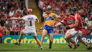 9 July 2017; Cathal Malone of Clare has a shot on goal against Cork goalkeeper Anthony Nash and Mark Coleman during the Munster GAA Hurling Senior Championship Final match between Clare and Cork at Semple Stadium in Thurles, Co Tipperary. Photo by Brendan Moran/Sportsfile