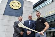 10 July 2017; Seán Cavanagh and Eddie Brennan in Croke Park to launch the 'EirGrid Moments in Time' campaign, as part of its timing partnership with the GAA. The campaign will culminate with a club in each province winning a digital clock and scoreboard. To enter post an image of your favourite GAA moment of the championship on Instagram or Twitter using #EirGridGAA. More information & T&C's available at www.eirgridgroup.com. Pictured at the launch are, from left, Peter McKenna, Commercial Manager of the GAA, Fintan Slye, CEO, EirGrid and former Kilkenny hurler and Kilkennny U21 manager Eddie Brennan. Photo by Brendan Moran/Sportsfile