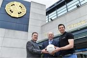 10 July 2017; Seán Cavanagh and Eddie Brennan in Croke Park to launch the 'EirGrid Moments in Time' campaign, as part of its timing partnership with the GAA. The campaign will culminate with a club in each province winning a digital clock and scoreboard. To enter post an image of your favourite GAA moment of the championship on Instagram or Twitter using AA. More information & T&C's available at www.eirgridgroup.com. Pictured at the launch are, from left, Peter McKenna, Commercial Manager of the GAA, Fintan Slye, CEO, EirGrid and Tyrone footballer Sean Cavanagh. Photo by Brendan Moran/Sportsfile