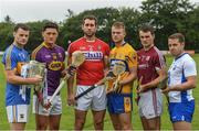11 July 2017; Sean Curran, Tipperary,  Lee Chin, Wexford, Mark Ellis, Cork, Aaron Cunningham, Clare, Johnny Coen, Galway, Noel Connors, Waterford, in attendance during the GAA Hurling All Ireland Senior Championship Series National Launch at Glynn Barntown GAA Club, in Co. Wexford. Photo by Ray McManus/Sportsfile