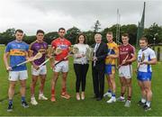 11 July 2017; Sorcha Fennell Sheehan, Sponsorship Programme Manager for Bord Gáis Energy. and Ard Stiúrthóir of the GAA Páraic Duffy, with left to right, Sean Curran, Tipperary,  Lee Chin, Wexford, Mark Ellis, Cork, Aaron Cunningham, Clare, Johnny Coen, Galway, Noel Connors, Waterford, in attendance during the GAA Hurling All Ireland Senior Championship Series National Launch at Glynn Barntown GAA Club, in Co. Wexford. Photo by Ray McManus/Sportsfile