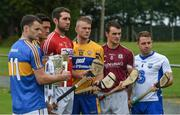 11 July 2017; In attendance during the GAA Hurling All Ireland Senior Championship Series National Launch are, from left, Sean Curran, Tipperary, Lee Chin, Wexford, Mark Ellis, Cork, Aaron Cunningham, Clare, Johnny Coen, Galway, and Noel Connors, Waterford, at Glynn Barntown GAA Club, in Co. Wexford. Photo by Ray McManus/Sportsfile