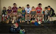 11 July 2017; Local Glynn Barntown GAA Club members Saoirse Flanagan, age 7, Leah O'Reill, age 9, Sean Moran, age 6, Tom Hilliard, age 7, Conor Doyle, age 7, Ben Swan, age 6 and his brother Bill, age 8, with Johnny Coen, Galway, Mark Ellis, Cork, Noel Connors, Waterford, and the Liam MacCarthy Cup at the GAA Hurling All Ireland Senior Championship Series National Launch at Glynn Barntown GAA Club, in Co. Wexford. Photo by Ray McManus/Sportsfile