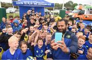 11 July 2017; Isa Nacewa poses for a selfie with young players during the Bank of Ireland Leinster Rugby Summer Camp at Balbriggan RFC in Dublin. Photo by Eóin Noonan/Sportsfile